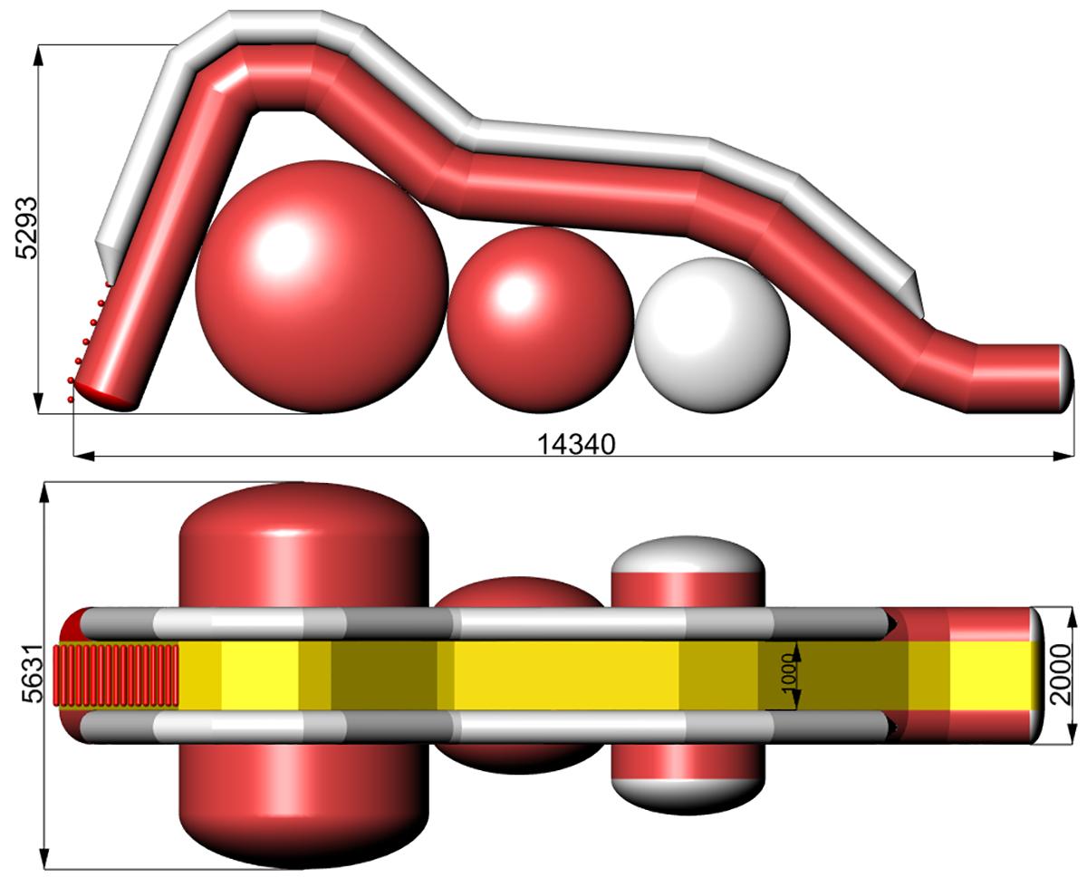 Размеры надувной водной горки Висла