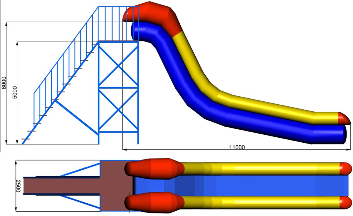 Размеры надувной водной горки NIAGARA