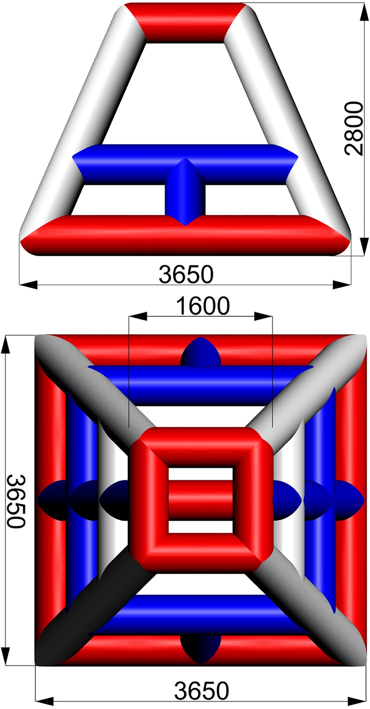 Размеры надувной водной игровой башни BESKID TETRA