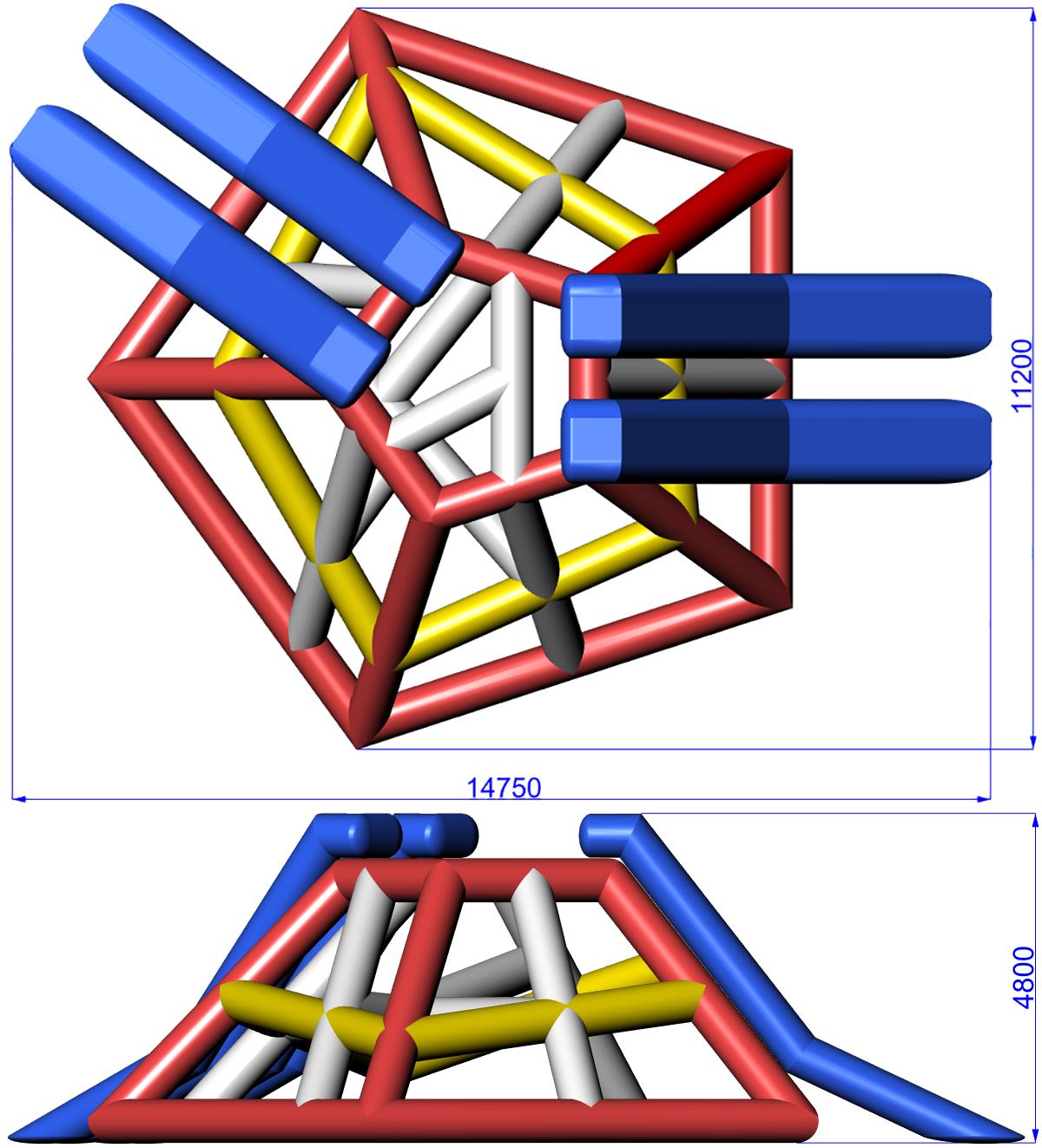Размеры надувной водной игровой башни GORGAN
