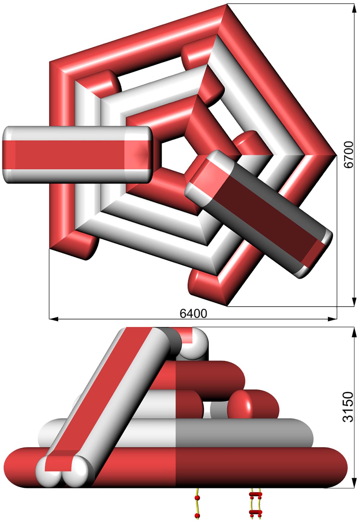 Размеры надувной водной игровой башни PENTA