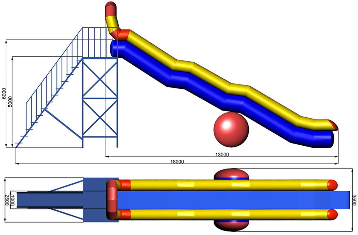 Dimensions of Inflatable water slide NILE