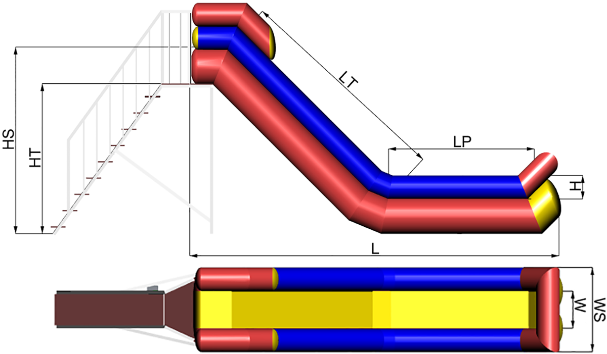 Dimensions of Inflatable water slide Cheremosh