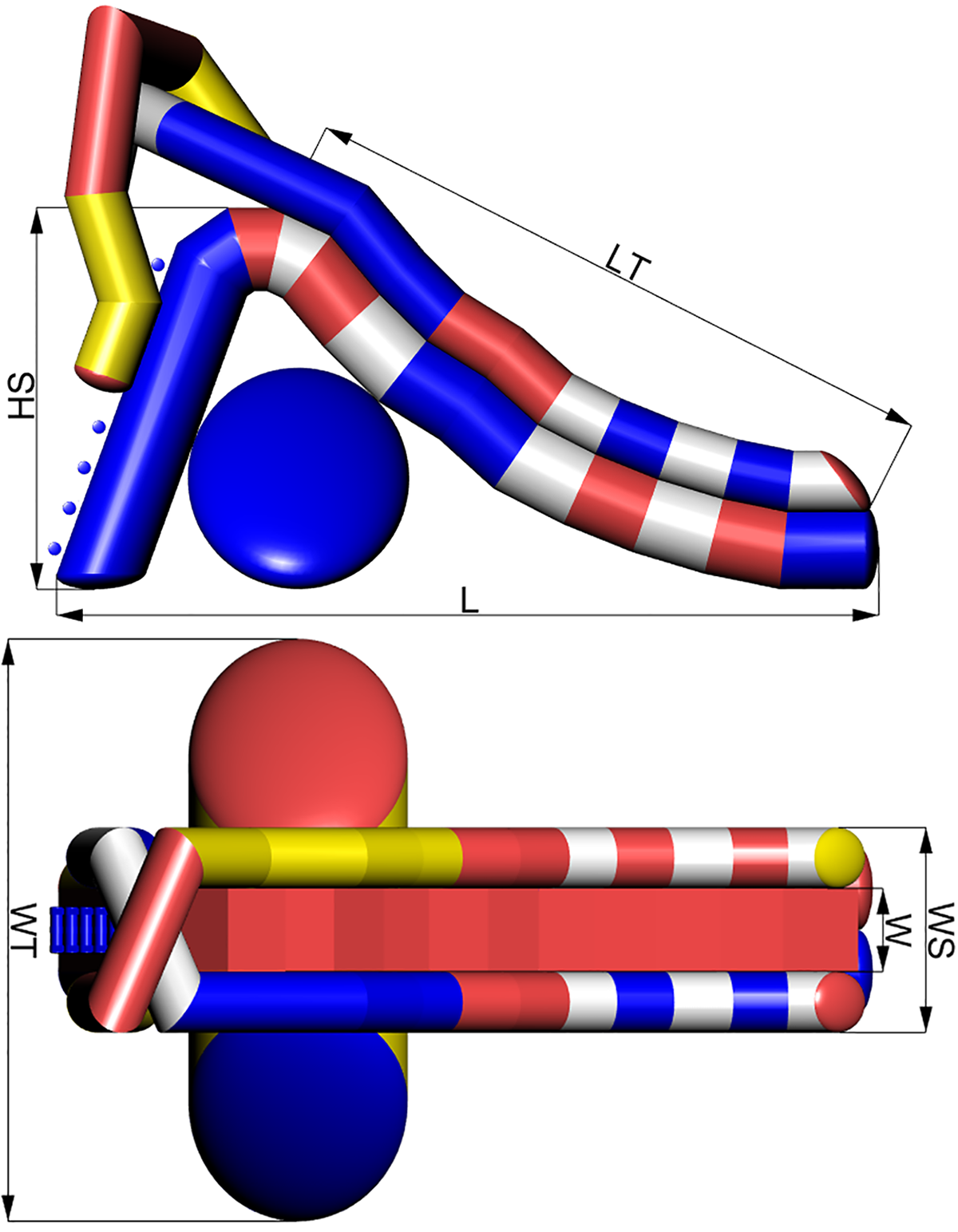 Размеры надувной водной горки SAMARA-3