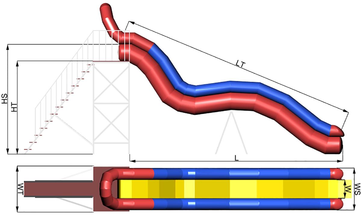 Размеры надувной водной горки DONAU