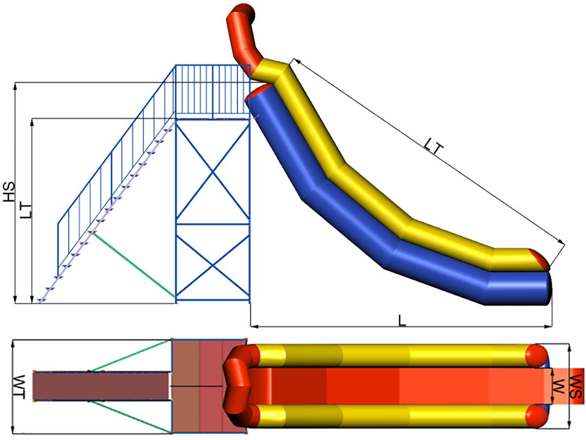 Dimensions of Inflatable water slide INGUL