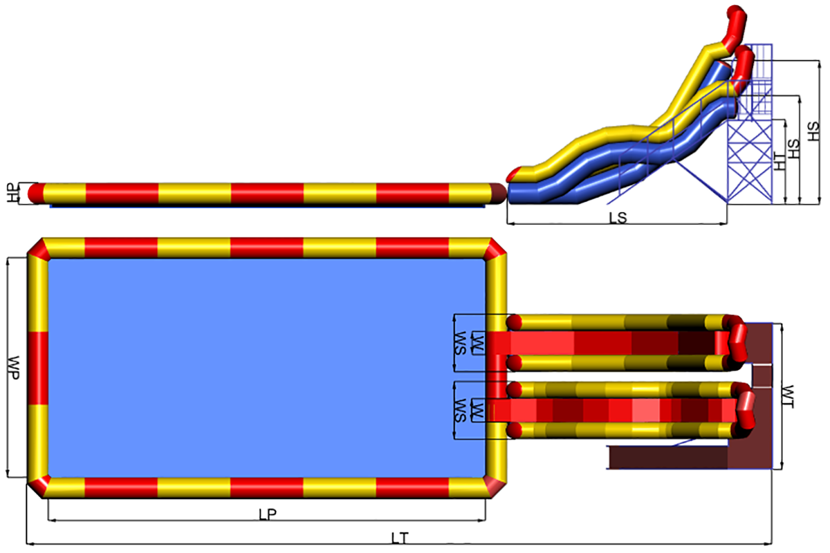Dimensions of inflatable waterpark Gairsport Ukhtyshka