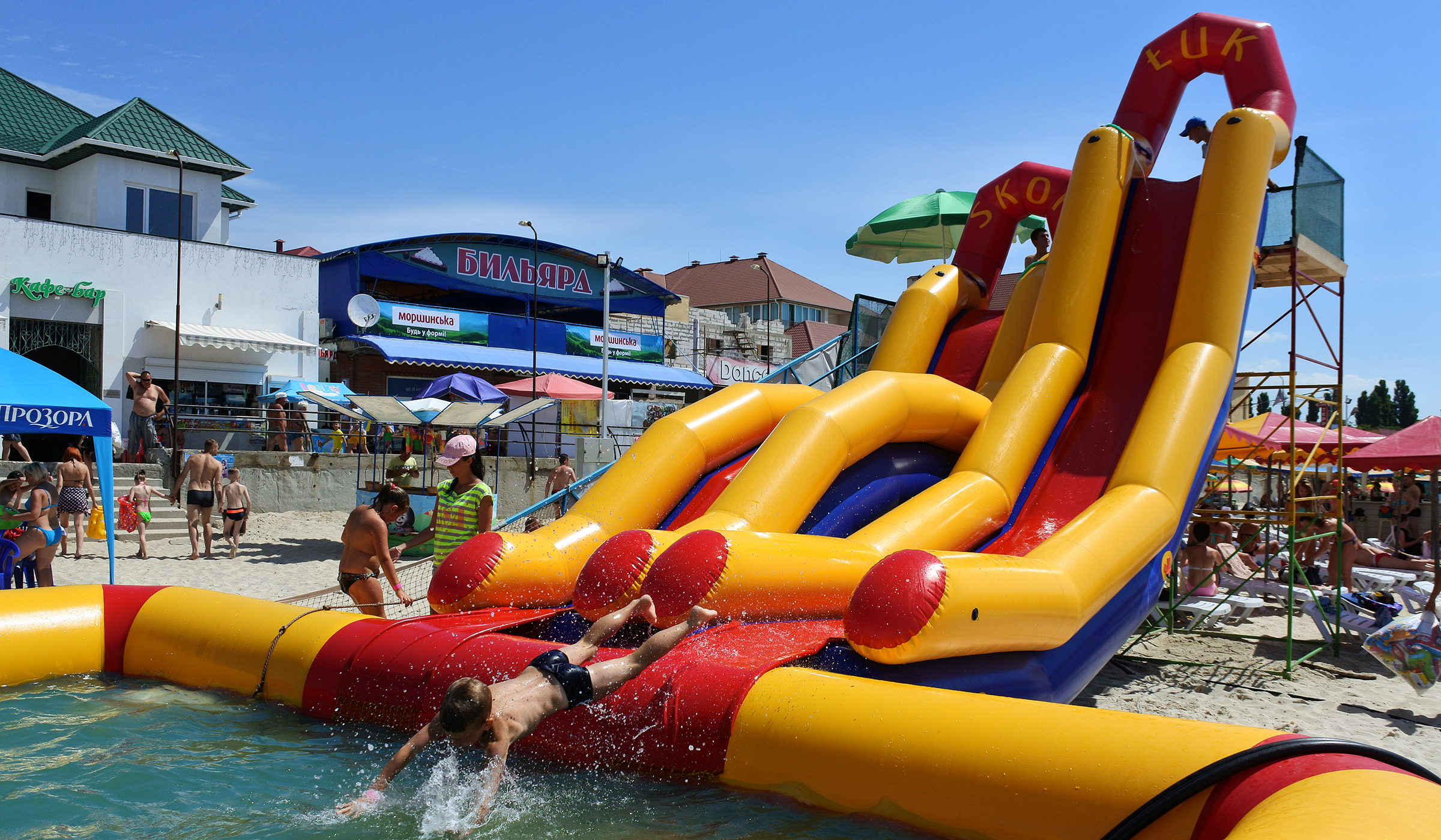 Inflatable water slide INGUL in set with waterpark