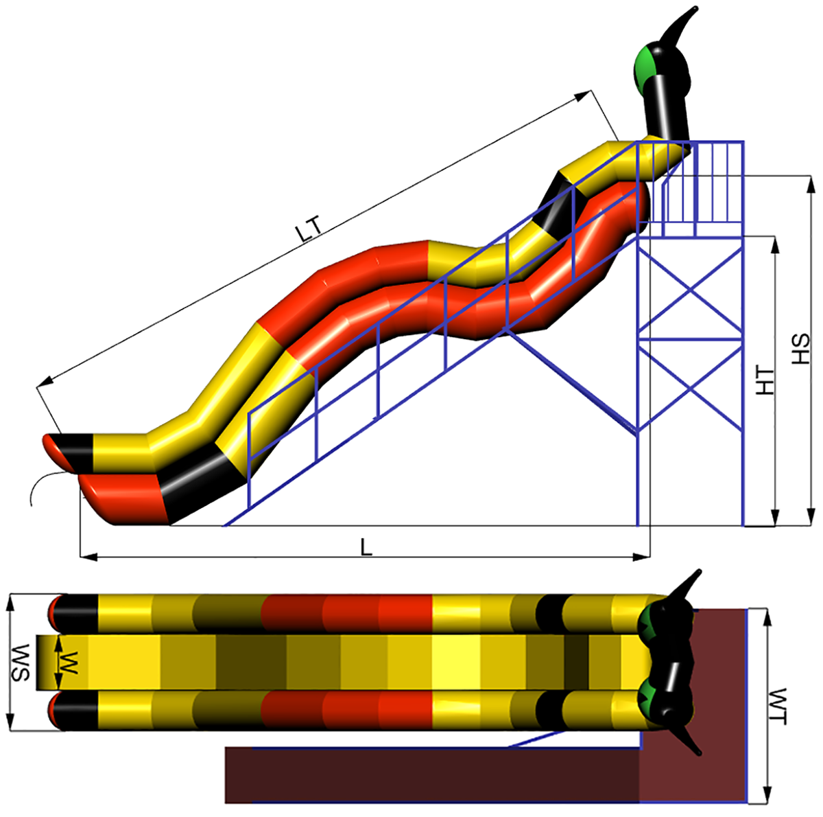 Dimensions of Inflatable water slide KOT-4