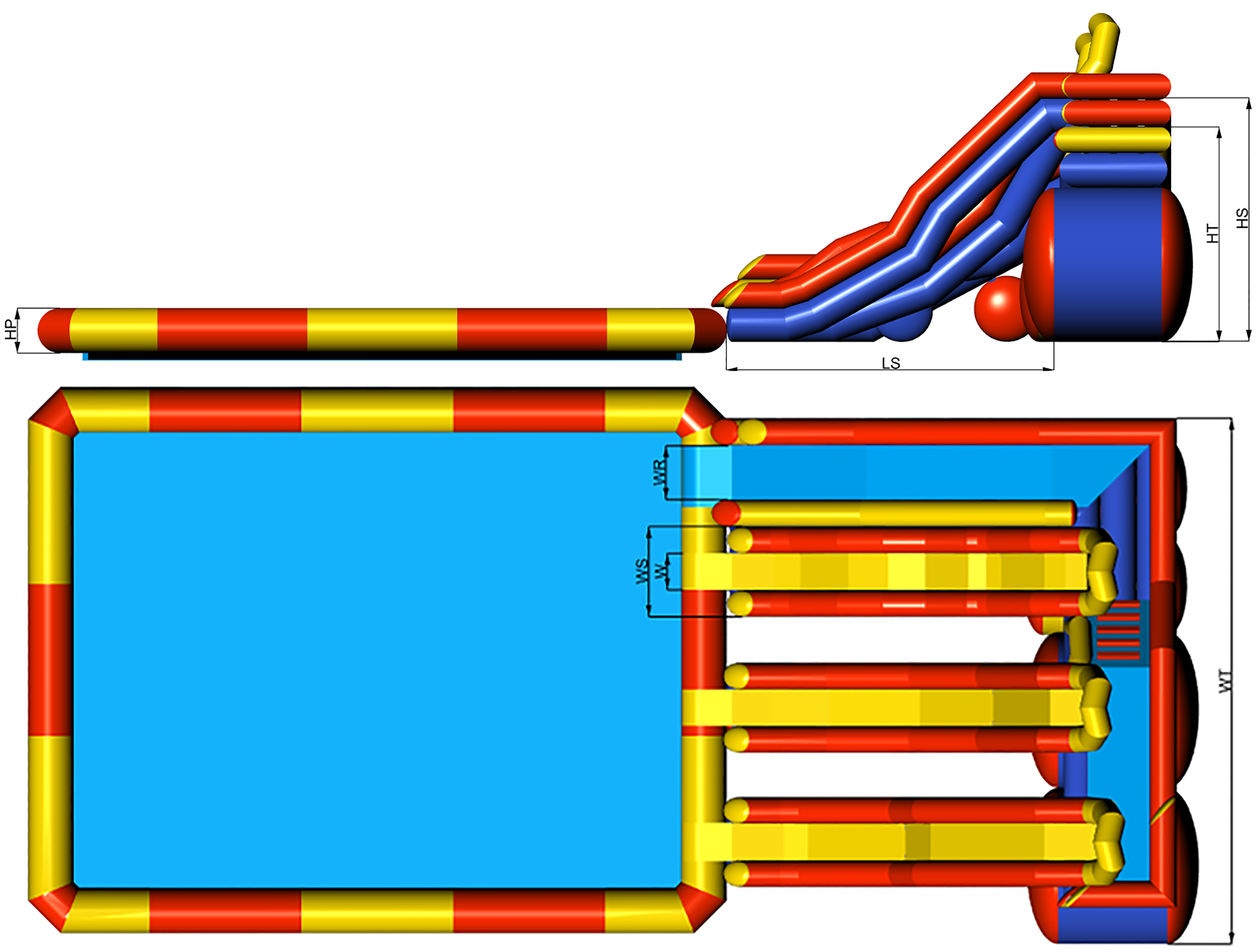 Dimensions of inflatable waterpark with inflatable ramp tower