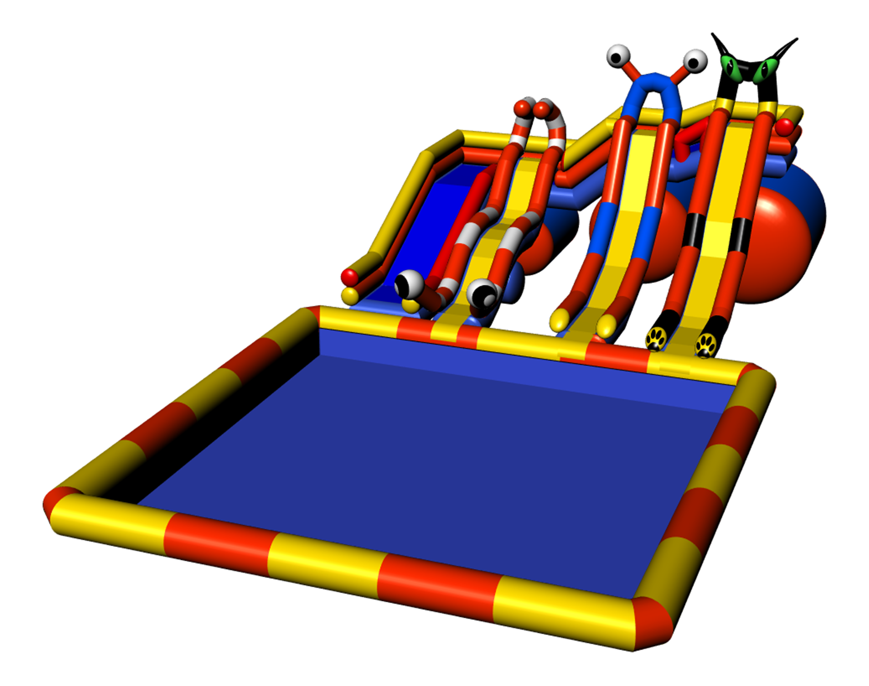 Inflatable water parks slides with inflatable tower