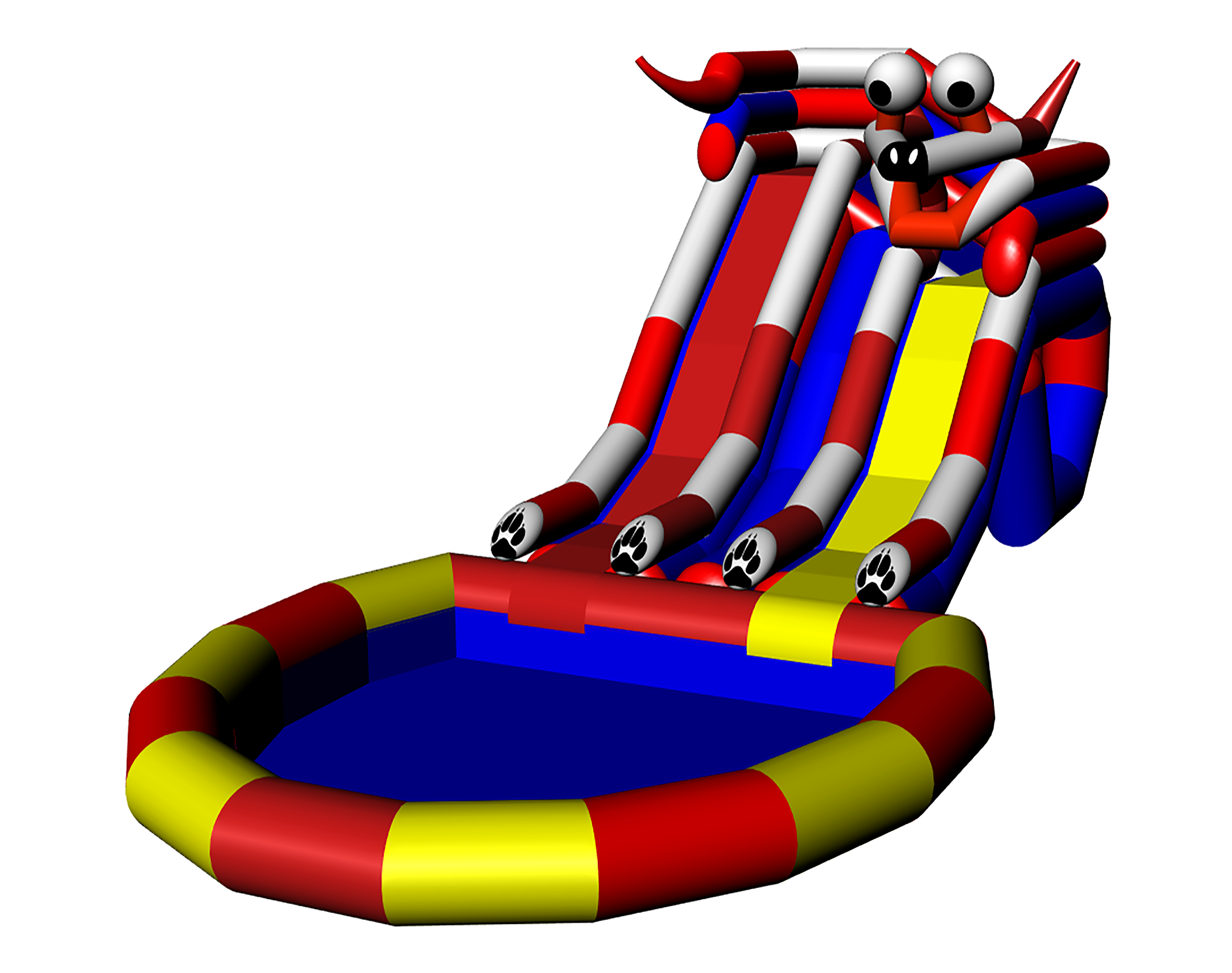 Inflatable water park playground aquapark with parallel slides DOGGY 2