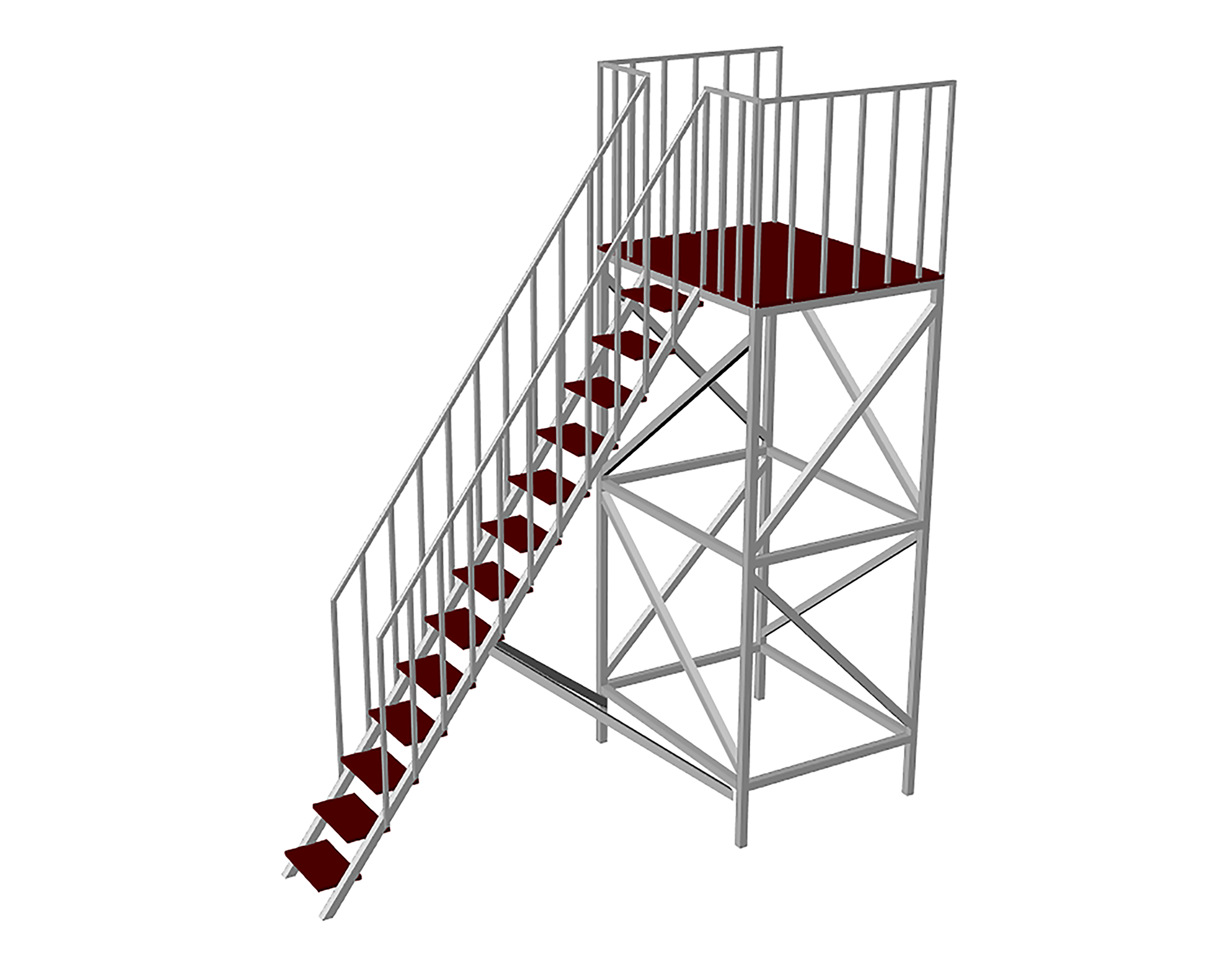 Steel metal tower for single inflatable slide